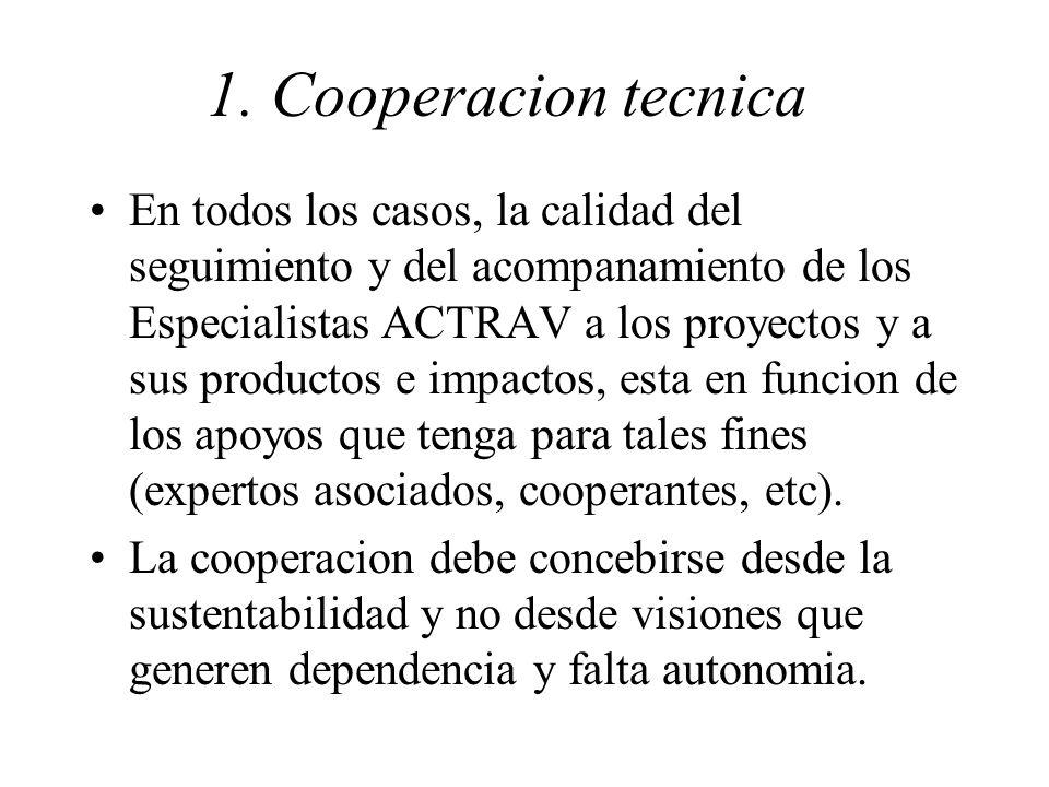 1. Cooperacion tecnica En todos los casos, la calidad del seguimiento y del acompanamiento de los Especialistas ACTRAV a los proyectos y a sus product