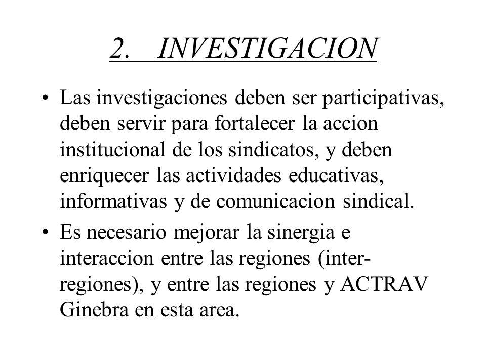 2.INVESTIGACION Las investigaciones deben ser participativas, deben servir para fortalecer la accion institucional de los sindicatos, y deben enriquecer las actividades educativas, informativas y de comunicacion sindical.