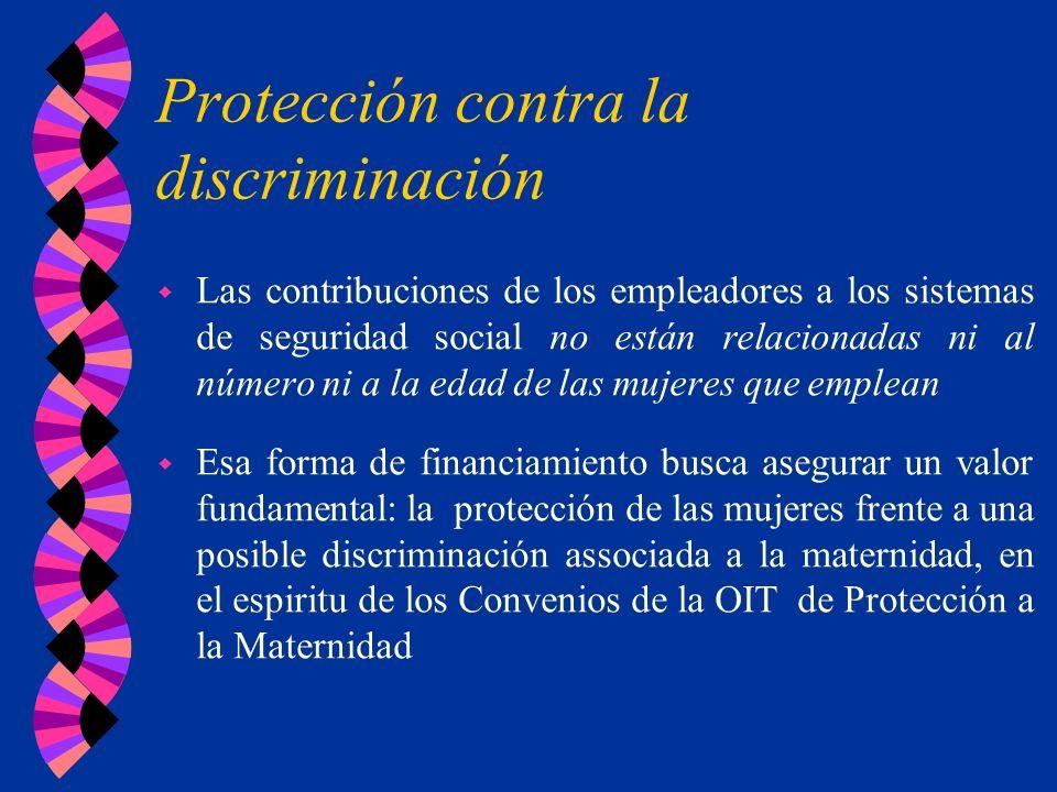 Protección contra la discriminación w Las contribuciones de los empleadores a los sistemas de seguridad social no están relacionadas ni al número ni a