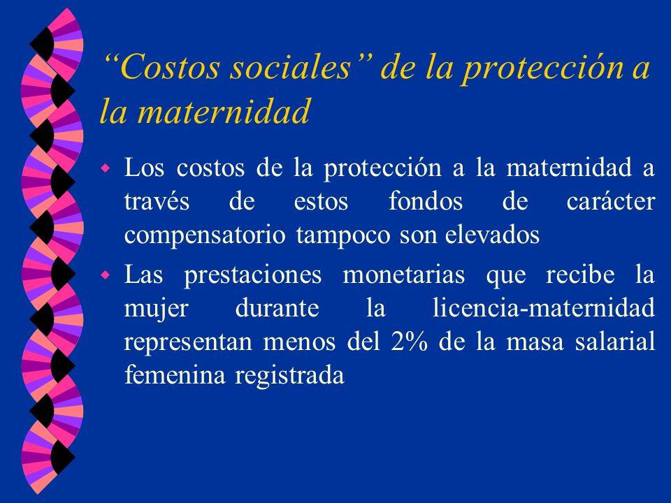 Costos sociales de la protección a la maternidad w Los costos de la protección a la maternidad a través de estos fondos de carácter compensatorio tamp