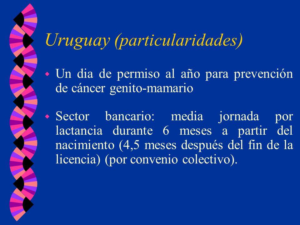 Uruguay ( particularidades ) w Un dia de permiso al año para prevención de cáncer genito-mamario w Sector bancario: media jornada por lactancia durant