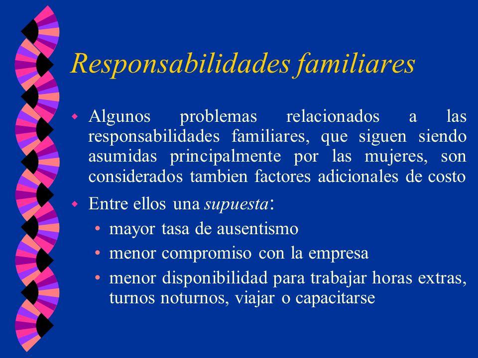 Responsabilidades familiares w Algunos problemas relacionados a las responsabilidades familiares, que siguen siendo asumidas principalmente por las mu