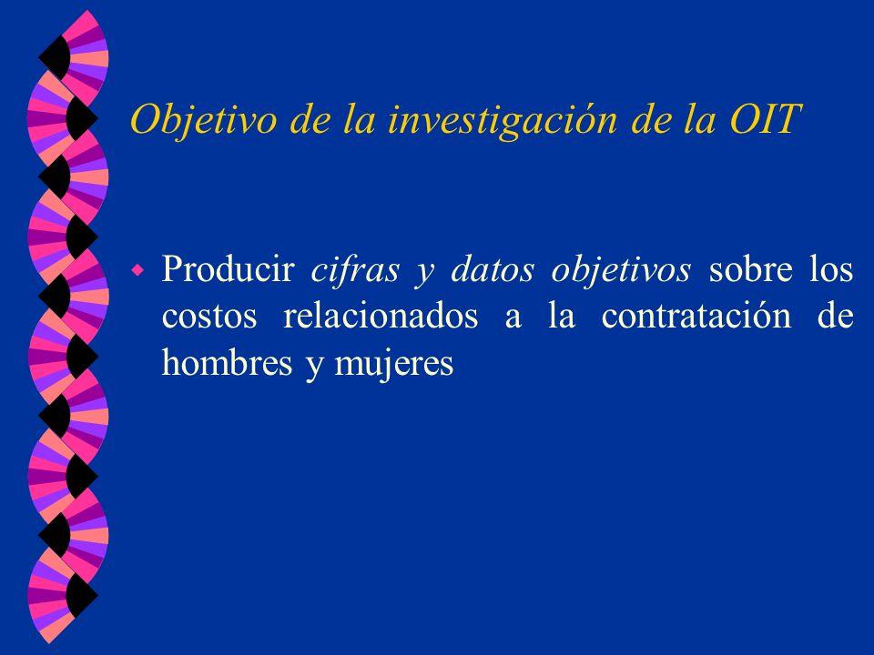 Objetivo de la investigación de la OIT w Producir cifras y datos objetivos sobre los costos relacionados a la contratación de hombres y mujeres
