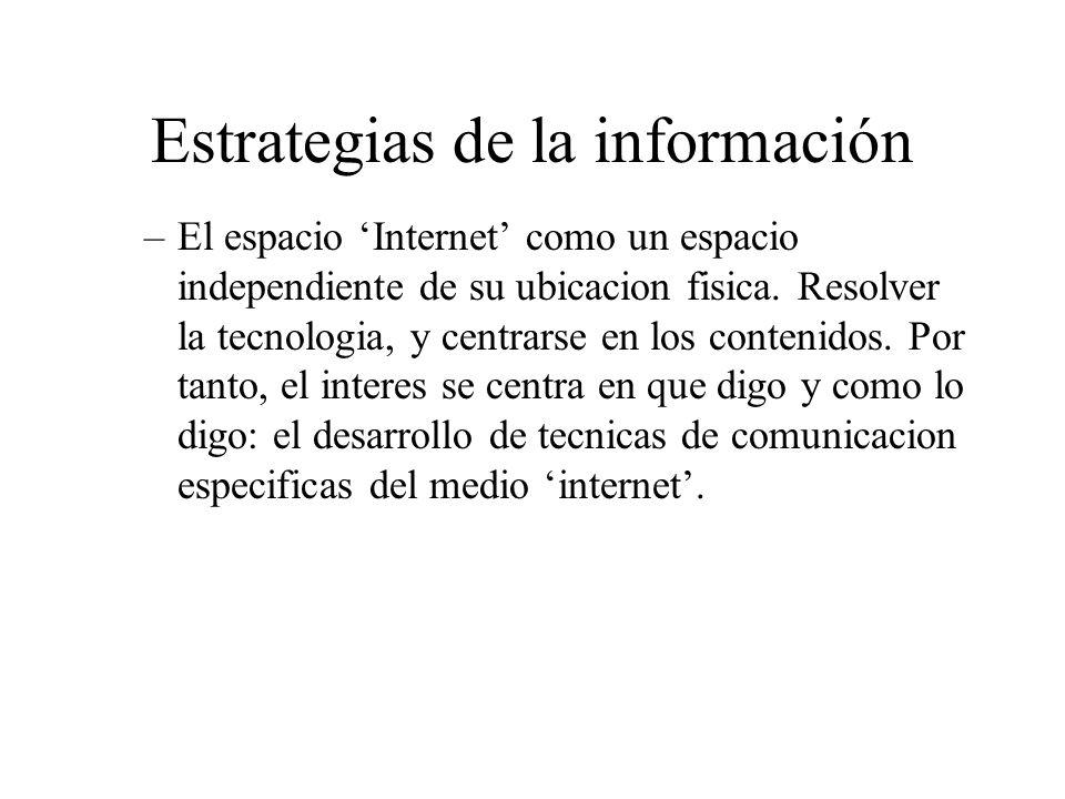 Estrategias de la información –El espacio Internet como un espacio independiente de su ubicacion fisica.