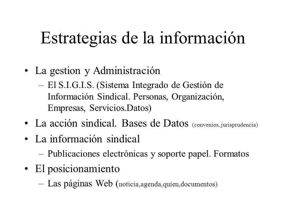 Estrategias de la información La gestion y Administración –El S.I.G.I.S.