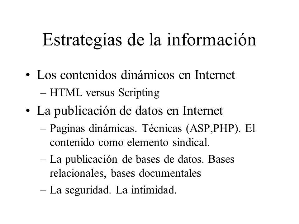 Estrategias de la información Los contenidos dinámicos en Internet –HTML versus Scripting La publicación de datos en Internet –Paginas dinámicas.