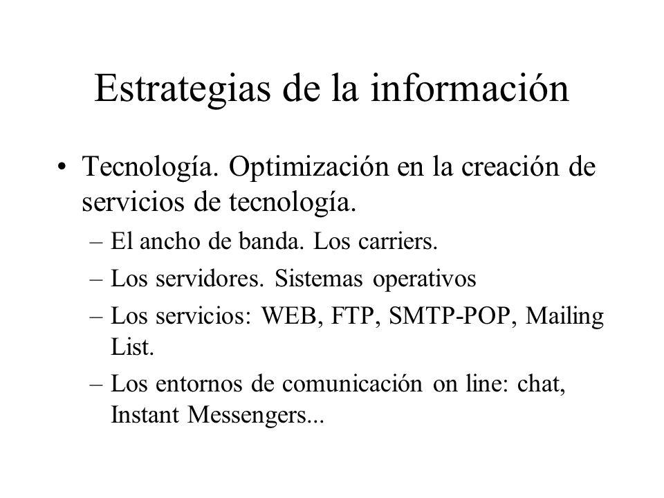 Estrategias de la información Tecnología.Optimización en la creación de servicios de tecnología.