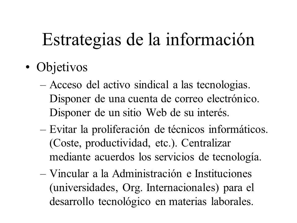 Estrategias de la información Objetivos –Acceso del activo sindical a las tecnologias.
