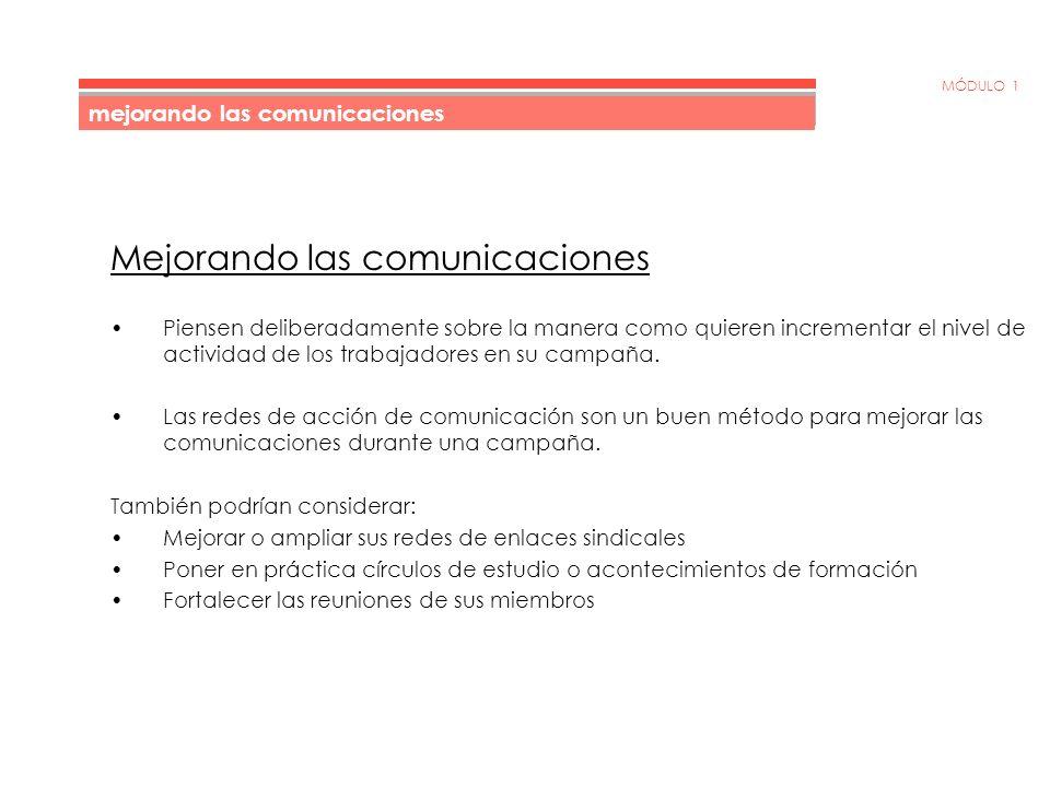 MÓDULO 1 Red de acción de comunicación mejorando las comunicaciones