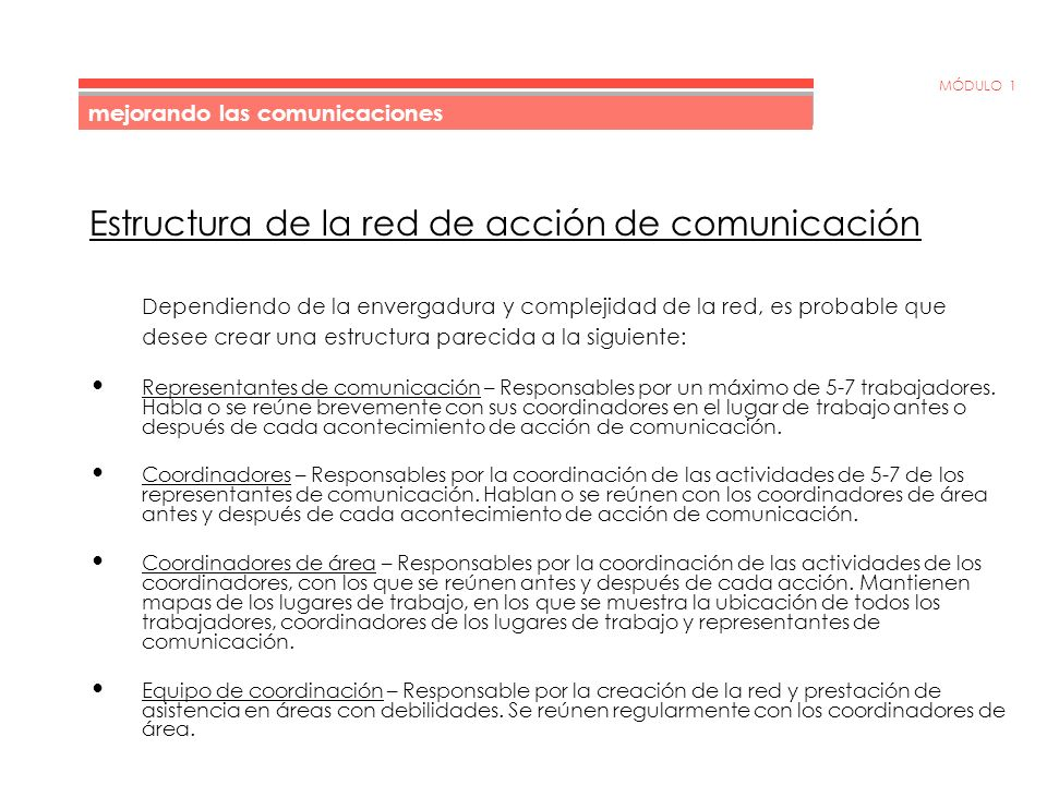 MÓDULO 1 Directrices básicas para la creación de una red de acción de comunicación 1.Se asignan 5-7 trabajadores específicos a cada representante de comunicación.
