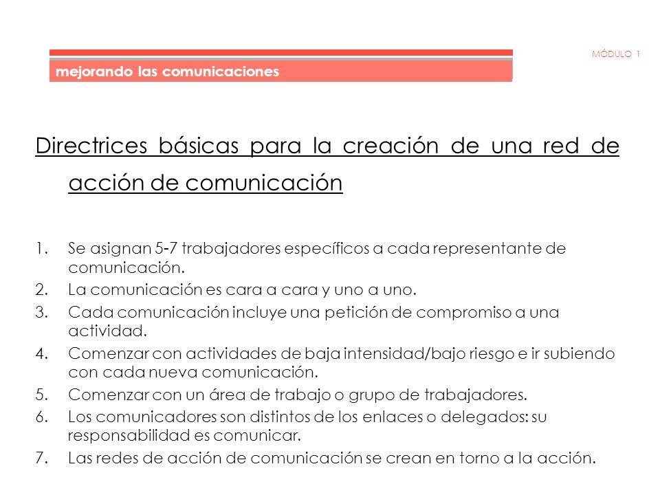 MÓDULO 1 Encuestas de la red de acción de comunicación Las redes de acción de comunicación son excelentes para la obtención de infor mación y para su diseminación.