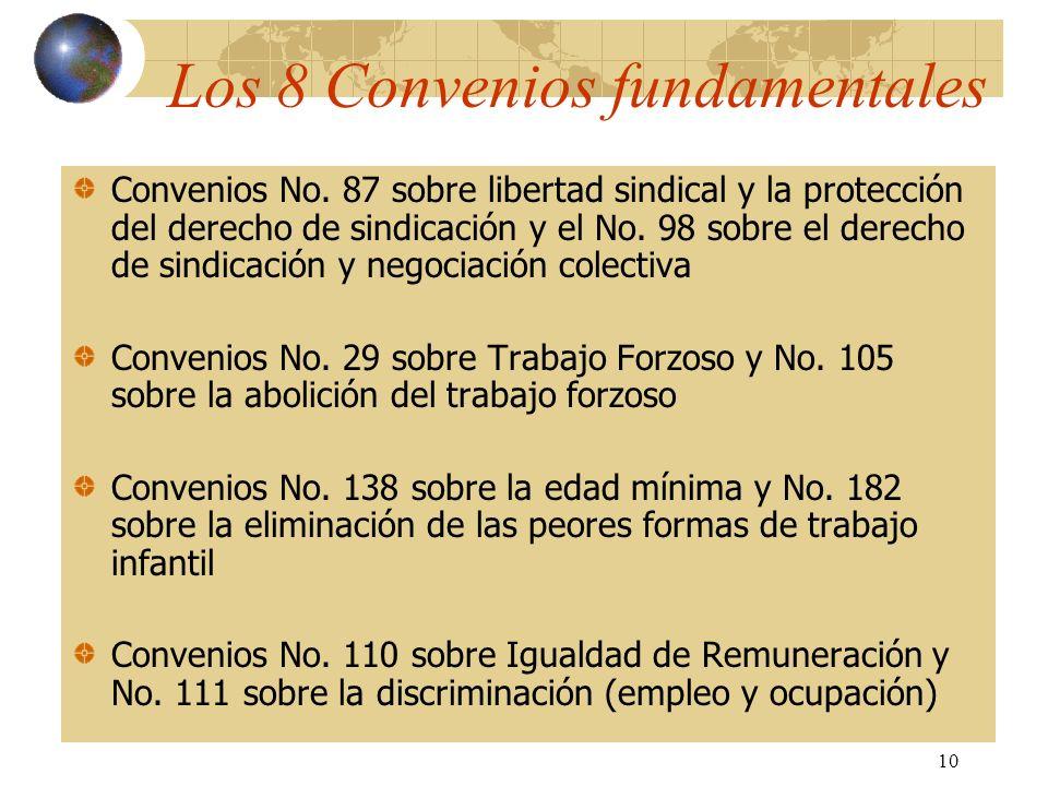 10 Los 8 Convenios fundamentales Convenios No. 87 sobre libertad sindical y la protección del derecho de sindicación y el No. 98 sobre el derecho de s