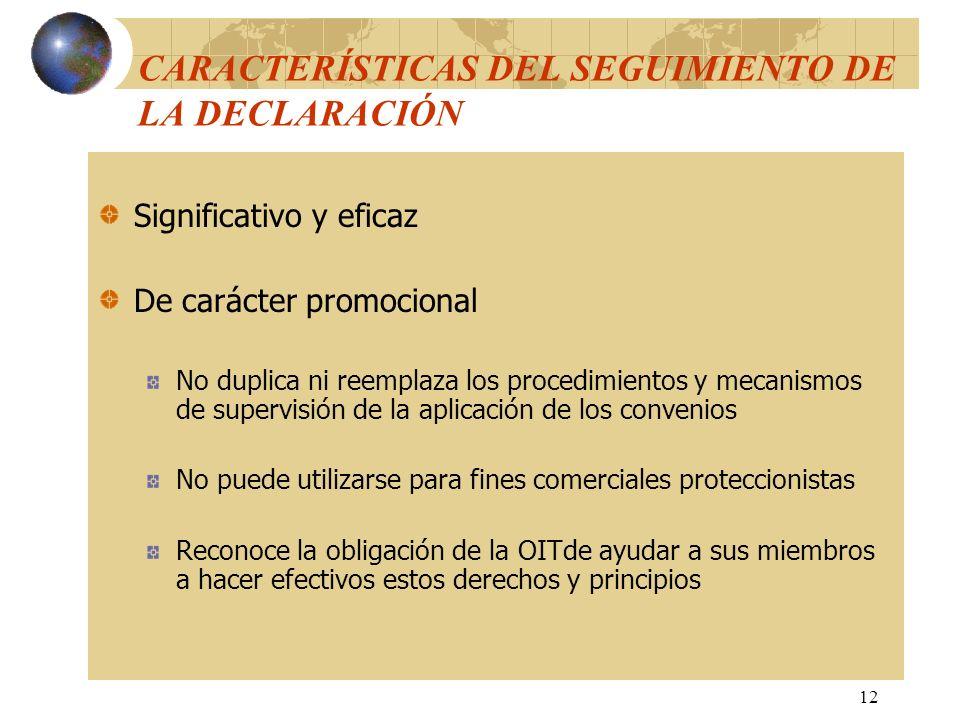 12 CARACTERÍSTICAS DEL SEGUIMIENTO DE LA DECLARACIÓN Significativo y eficaz De carácter promocional No duplica ni reemplaza los procedimientos y mecan