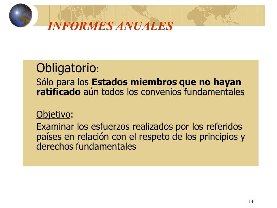 14 INFORMES ANUALES Obligatorio : Sólo para los Estados miembros que no hayan ratificado aún todos los convenios fundamentales Objetivo: Examinar los