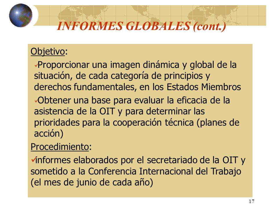 17 Objetivo: Proporcionar una imagen dinámica y global de la situación, de cada categoría de principios y derechos fundamentales, en los Estados Miemb