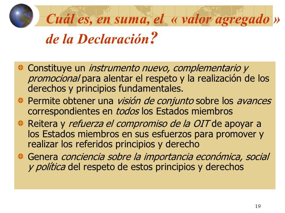 19 Cuál es, en suma, el « valor agregado » de la Declaración ? Constituye un instrumento nuevo, complementario y promocional para alentar el respeto y