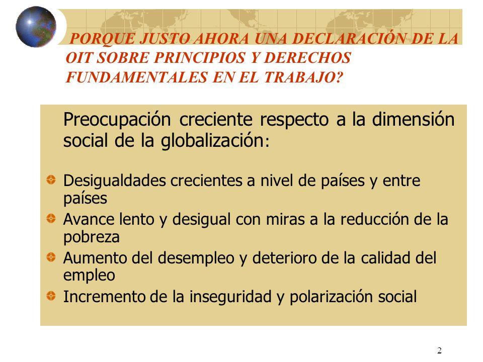 3 PORQUE JUSTO AHORA UNA DECLARACION DE LA OIT SOBRE PRINCIPIOS Y DERECHOS FUNDAMENTALES EN EL TRABAJO (Cont.).