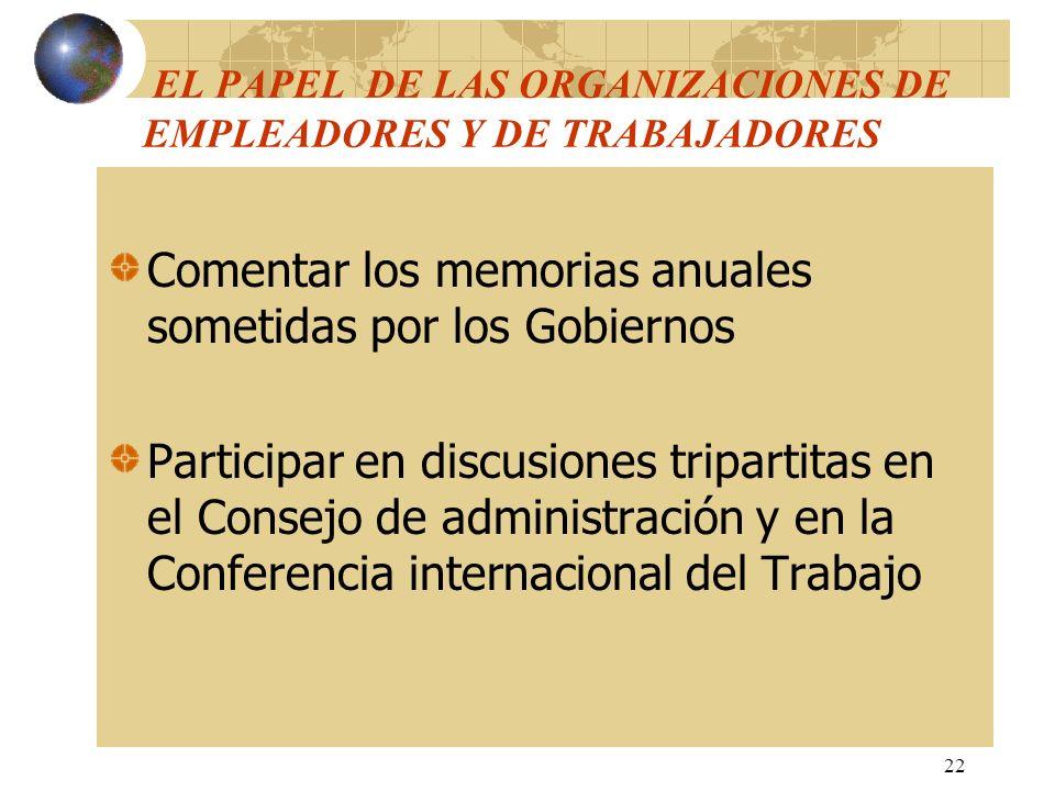 22 EL PAPEL DE LAS ORGANIZACIONES DE EMPLEADORES Y DE TRABAJADORES Comentar los memorias anuales sometidas por los Gobiernos Participar en discusiones