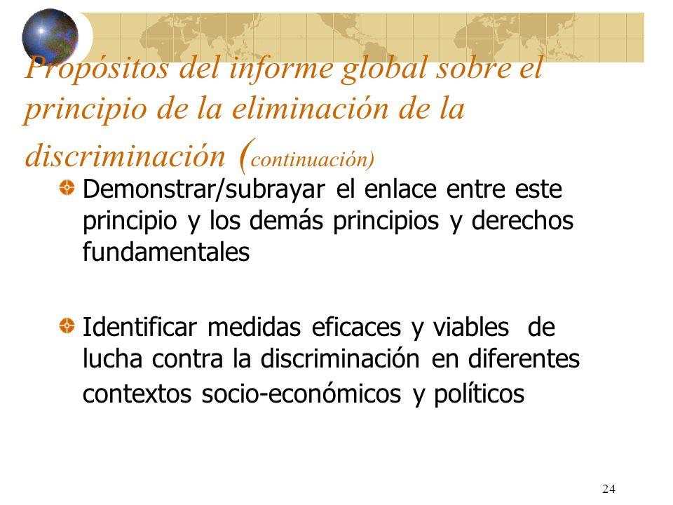 24 Propósitos del informe global sobre el principio de la eliminación de la discriminación ( continuación) Demonstrar/subrayar el enlace entre este pr