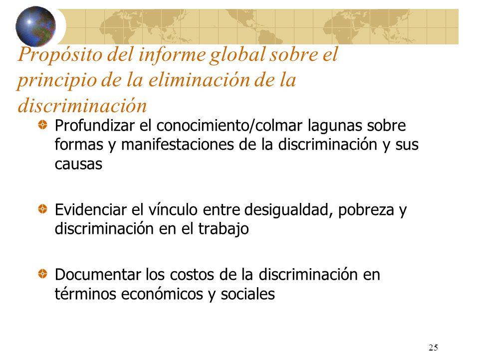 25 Propósito del informe global sobre el principio de la eliminación de la discriminación Profundizar el conocimiento/colmar lagunas sobre formas y ma