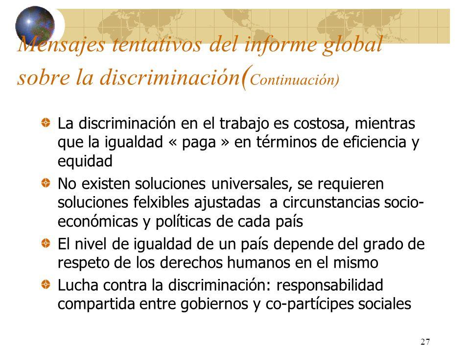 27 Mensajes tentativos del informe global sobre la discriminación ( Continuación) La discriminación en el trabajo es costosa, mientras que la igualdad