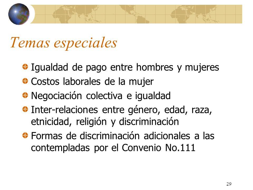 29 Temas especiales Igualdad de pago entre hombres y mujeres Costos laborales de la mujer Negociación colectiva e igualdad Inter-relaciones entre géne