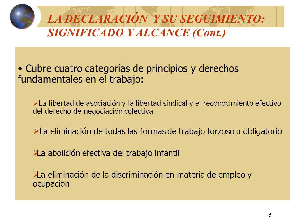 6 LAS CUATRO CATEGORÍAS DE PRINCIPIOS Y DERECHOS FUNDAMENTALES EN EL TRABAJO Y SU RELACIÓN CON EL DESARROLLO Y LA JUSTICIA SOCIAL La libertad de asociación y la libertad sindical y el reconocimiento efectivo del derecho de negociación colectiva Base de los otros principios y derechos reconocidos por la Declaración Esencial para: - crear un entorno favorable para la innovación y productividad - asegurar una mayor equidad distributiva - asegurar una mayor armonía y cohesión sociales