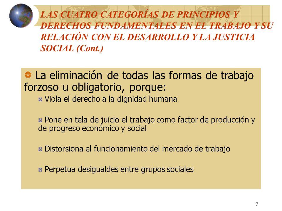8 La abolición efectiva del trabajo infantil, dalo que éste: Es un potente factor de reproducción de la pobreza de una generación a otra Compromete las oportunidades de desarrollo futuro de los niños Merma las condiciones de trabajo y los niveles de pago de los trabajadores adultos LAS CUATRO CATEGORÍAS DE PRINCIPIOS Y DERCHOS FUNDAMENTALES EN EL TRABAJO Y SU RELACIÓN CON EL DESARROLLO Y LA JUSTICIA SOCIAL (Cont.)
