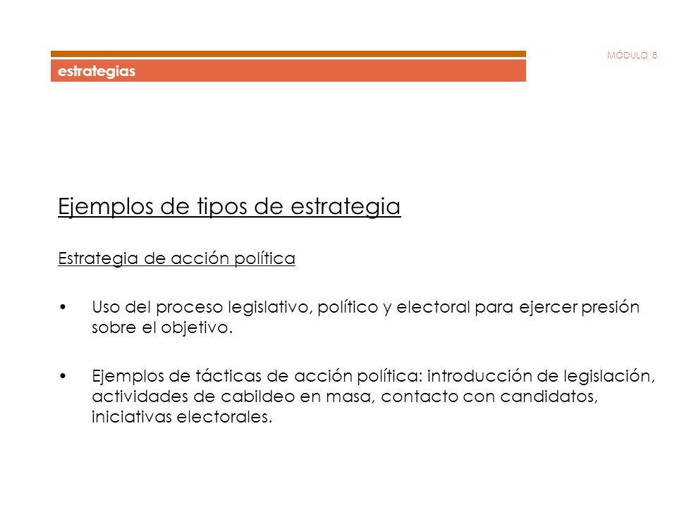MÓDULO 8 estrategias Ejemplos de tipos de estrategia Estrategia de acción política Uso del proceso legislativo, político y electoral para ejercer pres