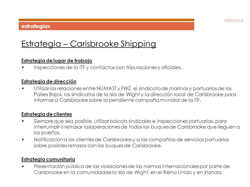 MÓDULO 8 estrategias Estrategia – Carisbrooke Shipping Estrategia de lugar de trabajo Inspecciones de la ITF y contactos con tripulaciones y oficiales