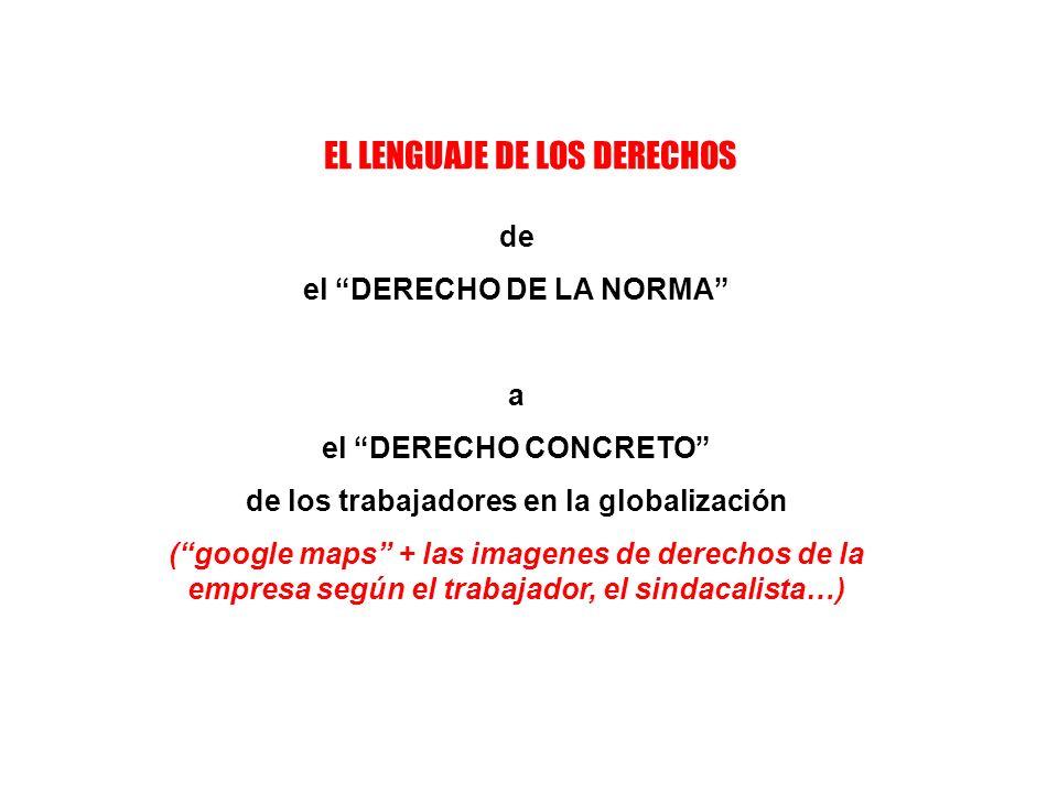 EL LENGUAJE DE LOS DERECHOS de el DERECHO DE LA NORMA a el DERECHO CONCRETO de los trabajadores en la globalización (google maps + las imagenes de derechos de la empresa según el trabajador, el sindacalista…)