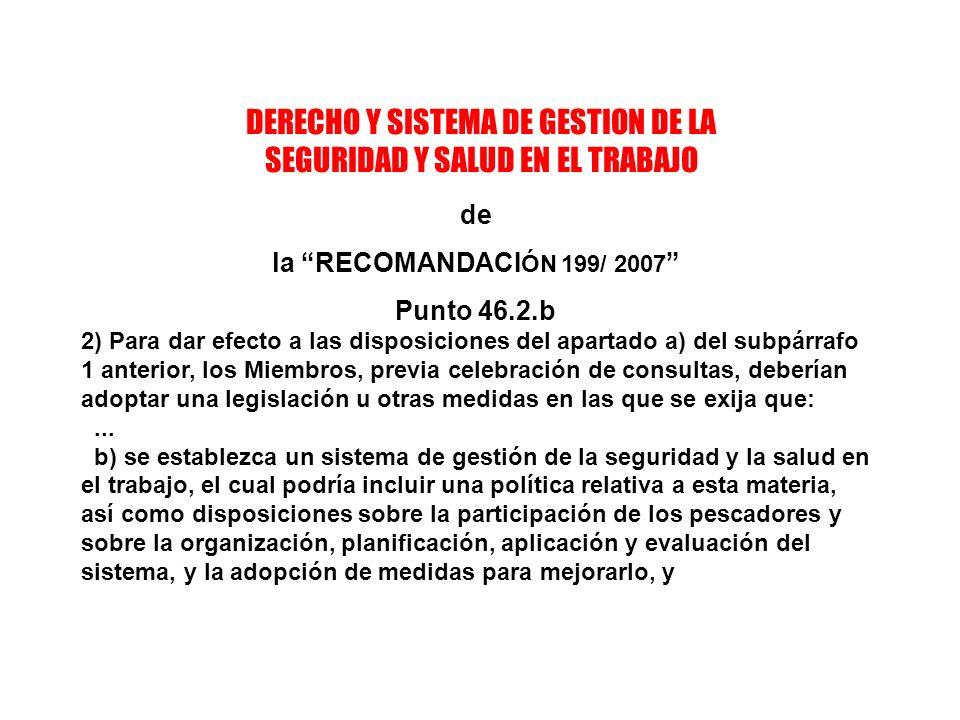 DERECHO Y SISTEMA DE GESTION DE LA SEGURIDAD Y SALUD EN EL TRABAJO de la RECOMANDACI ÓN 199/ 2007 Punto 46.2.b 2) Para dar efecto a las disposiciones del apartado a) del subpárrafo 1 anterior, los Miembros, previa celebración de consultas, deberían adoptar una legislación u otras medidas en las que se exija que:...