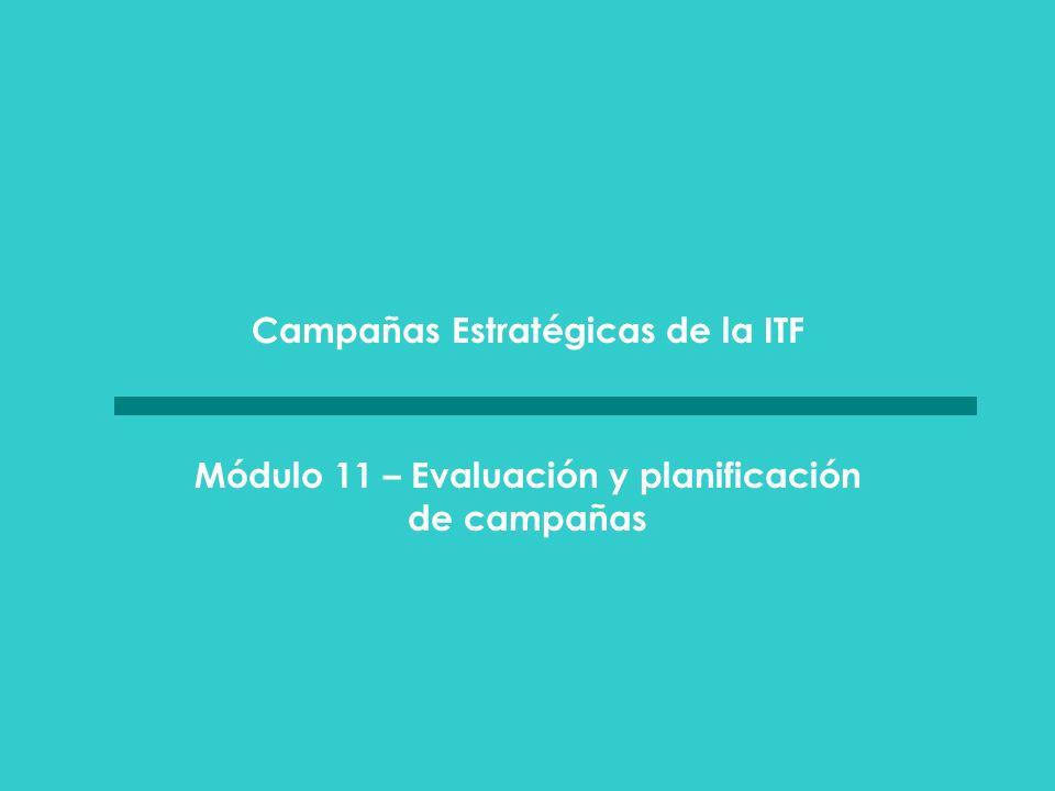 MÓDULO 11 evaluación y planificación de campañas Evaluación y planificación de campañas Introduzca en el plan de la campaña tiempos regulares para supervisar su progreso: – Para asistir al entero sindicato a aplicar las estrategias y tácticas y a lograr los objetivos propuestos.