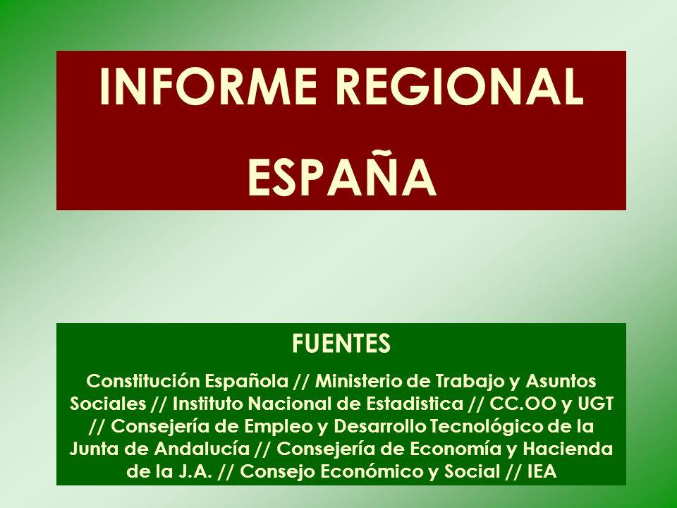 INFORME REGIONAL ESPAÑA FUENTES Constitución Española // Ministerio de Trabajo y Asuntos Sociales // Instituto Nacional de Estadistica // CC.OO y UGT