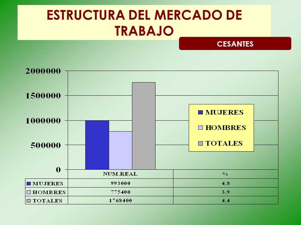 ESTRUCTURA DEL MERCADO DE TRABAJO CESANTES
