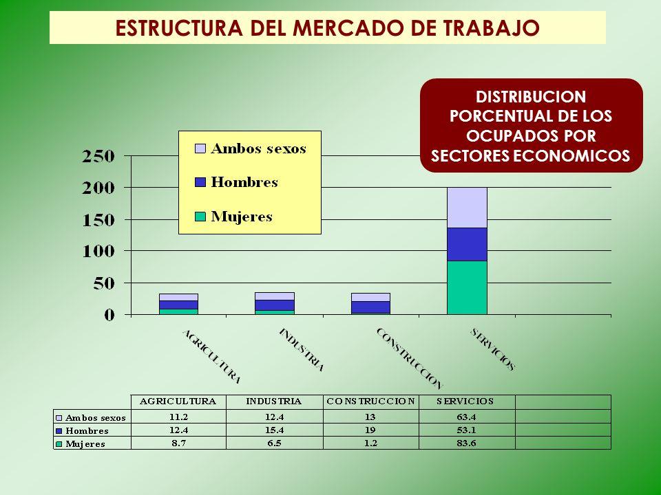 ESTRUCTURA DEL MERCADO DE TRABAJO DISTRIBUCION PORCENTUAL DE LOS OCUPADOS POR SECTORES ECONOMICOS