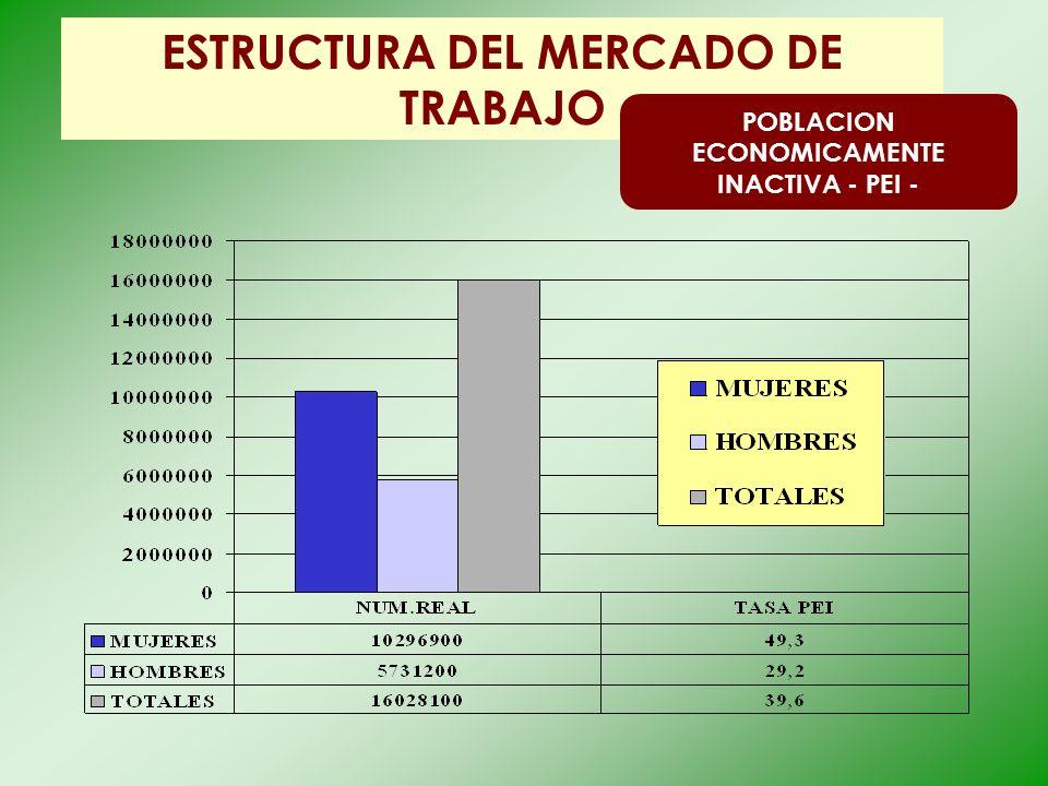 ESTRUCTURA DEL MERCADO DE TRABAJO POBLACION ECONOMICAMENTE INACTIVA - PEI -