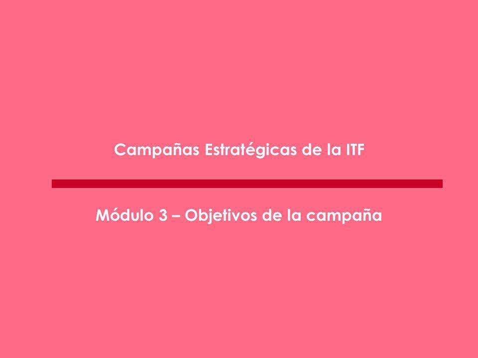 Campañas Estratégicas de la ITF Módulo 3 – Objetivos de la campaña