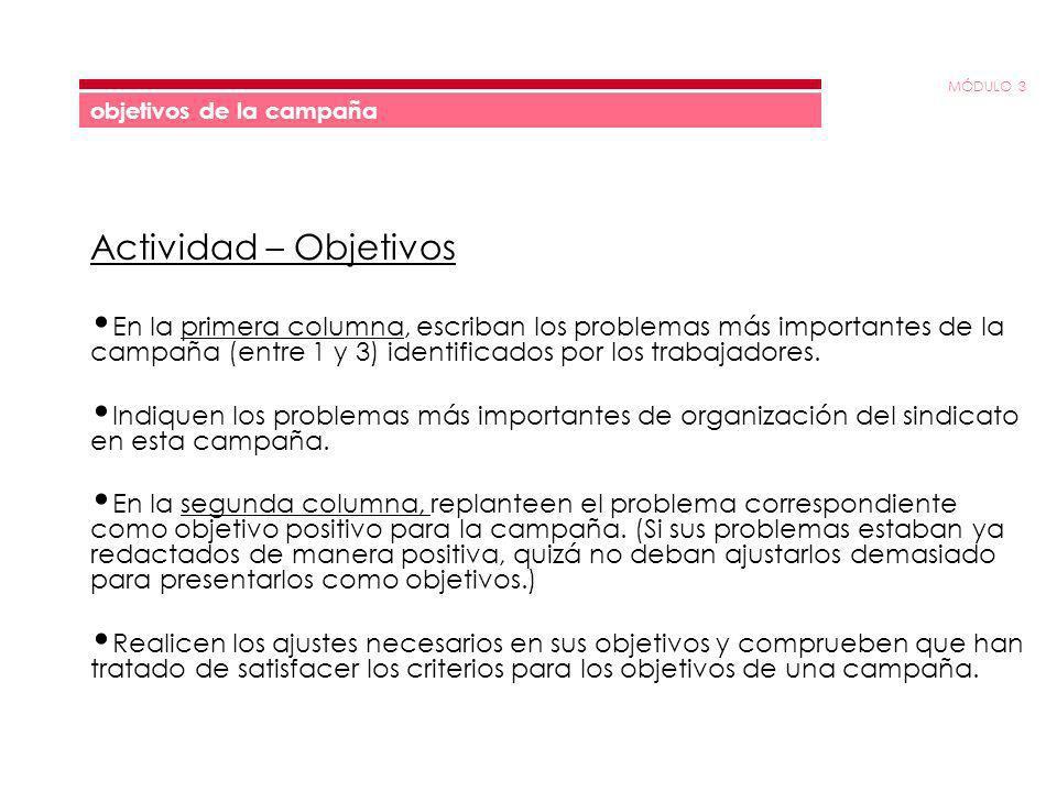 MÓDULO 3 objetivos de la campaña Actividad – Objetivos En la primera columna, escriban los problemas más importantes de la campaña (entre 1 y 3) identificados por los trabajadores.