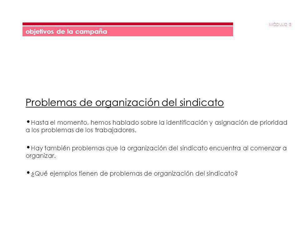 MÓDULO 3 objetivos de la campaña Problemas de organización del sindicato Hasta el momento, hemos hablado sobre la identificación y asignación de prior