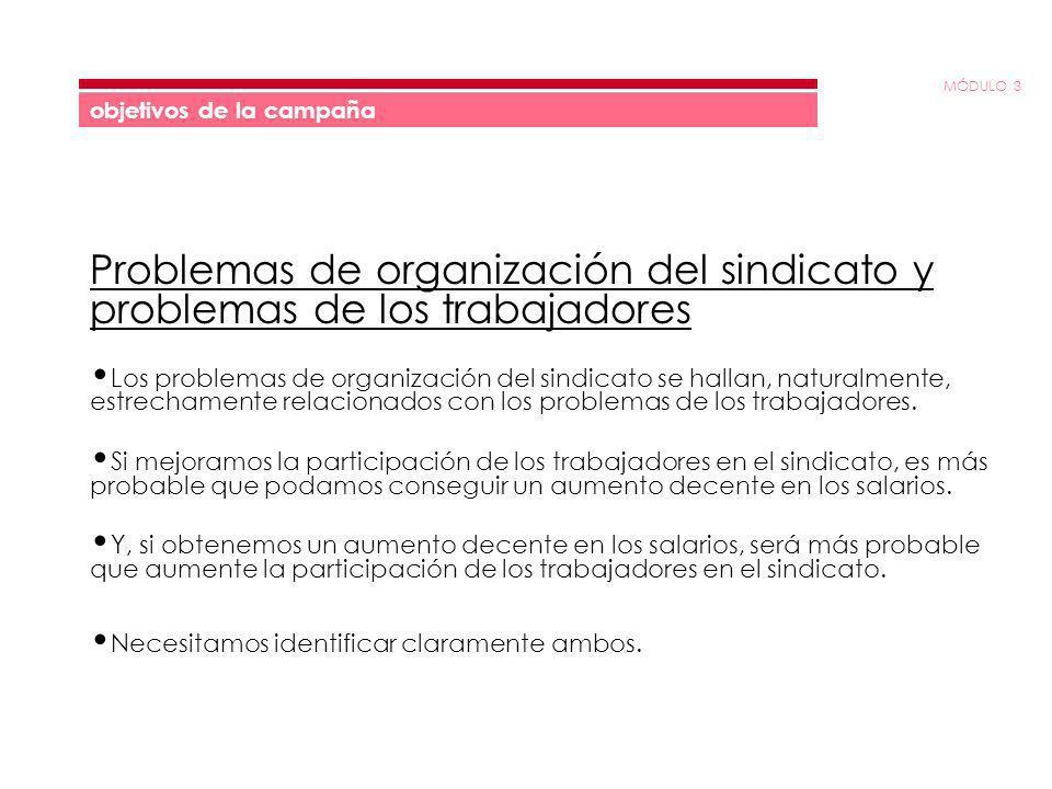 MÓDULO 3 objetivos de la campaña Problemas de organización del sindicato y problemas de los trabajadores Los problemas de organización del sindicato s