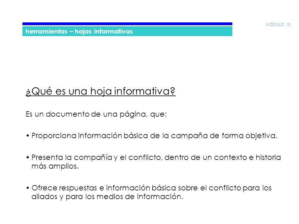 MÓDULO 13 herramientas – hojas informativas ¿Qué es una hoja informativa.