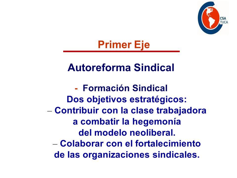 Programa de acción Primer Eje Autoreforma Sindical - Formación Sindical Dos objetivos estratégicos: – Contribuir con la clase trabajadora a combatir la hegemonía del modelo neoliberal.