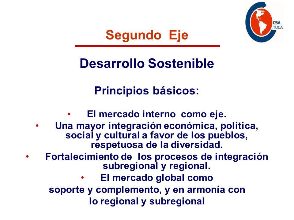 Segundo Eje Desarrollo Sostenible Principios básicos: El mercado interno como eje. Una mayor integración económica, política, social y cultural a favo