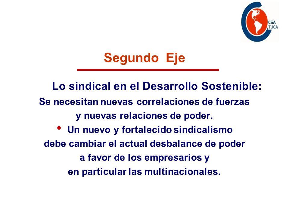 Segundo Eje Lo sindical en el Desarrollo Sostenible: Se necesitan nuevas correlaciones de fuerzas y nuevas relaciones de poder. Un nuevo y fortalecido
