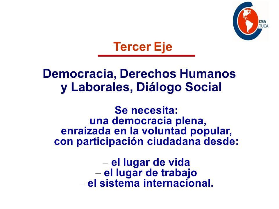 Tercer Eje Democracia, Derechos Humanos y Laborales, Diálogo Social Se necesita: una democracia plena, enraizada en la voluntad popular, con participación ciudadana desde: – el lugar de vida – el lugar de trabajo – el sistema internacional.