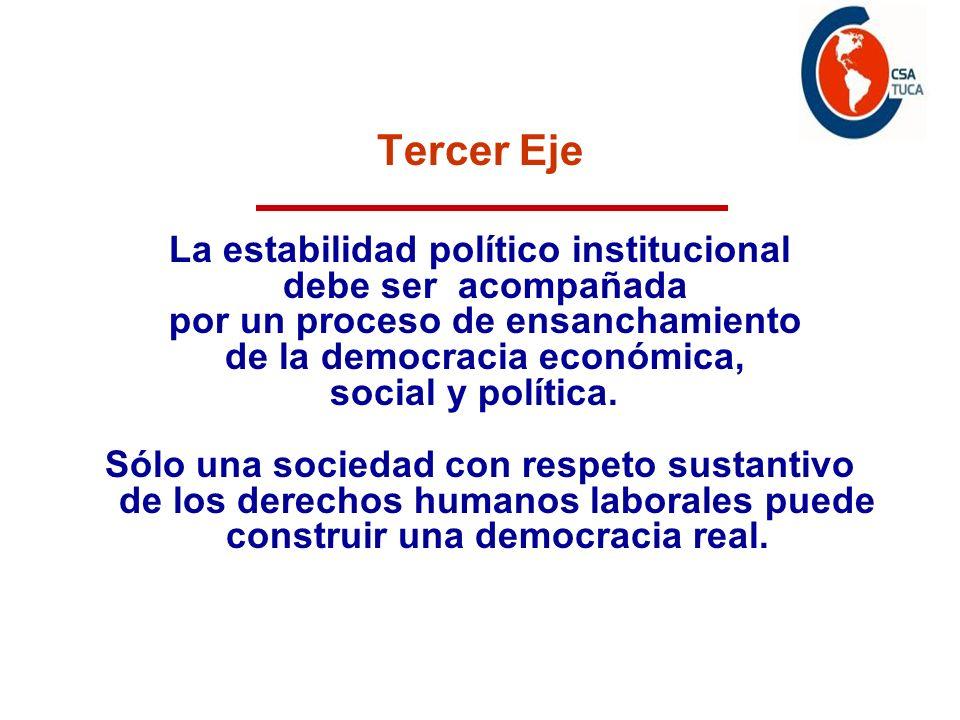 Tercer Eje La estabilidad político institucional debe ser acompañada por un proceso de ensanchamiento de la democracia económica, social y política. S