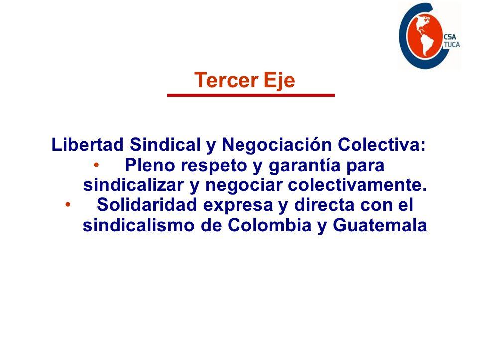 Tercer Eje Libertad Sindical y Negociación Colectiva: Pleno respeto y garantía para sindicalizar y negociar colectivamente. Solidaridad expresa y dire