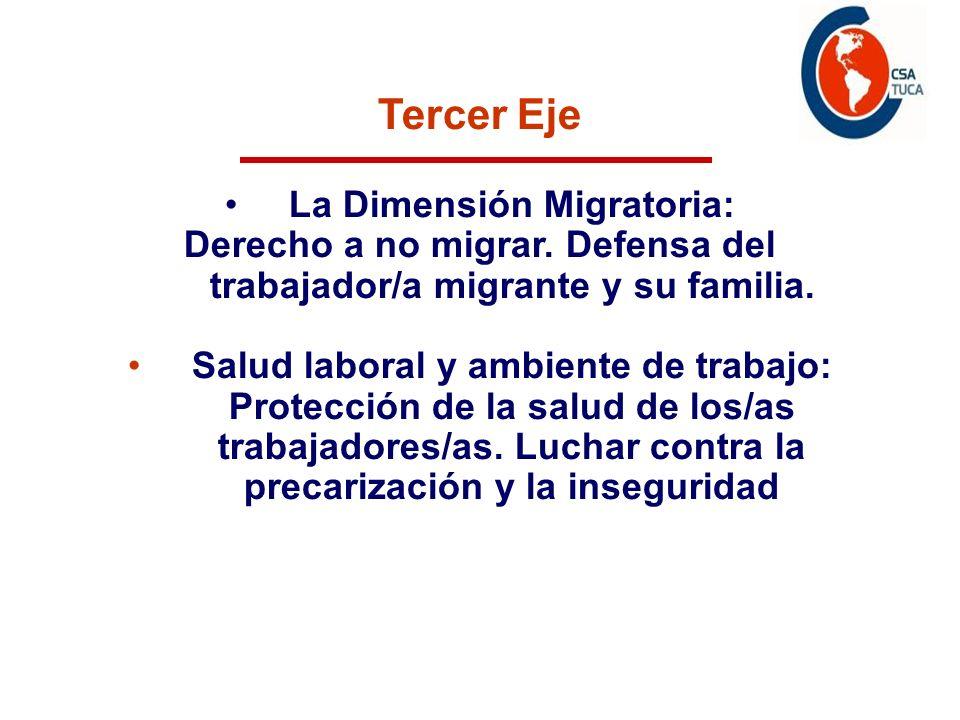 Tercer Eje La Dimensión Migratoria: Derecho a no migrar. Defensa del trabajador/a migrante y su familia. Salud laboral y ambiente de trabajo: Protecci