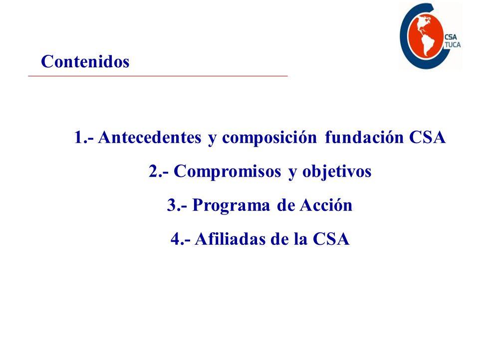 Contenidos 1.- Antecedentes y composición fundación CSA 2.- Compromisos y objetivos 3.- Programa de Acción 4.- Afiliadas de la CSA
